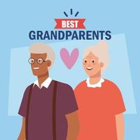 Fröhlicher Großelterntag mit süßem älterem Paar und Schriftzug der besten Großeltern vektor