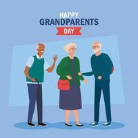 Alles Gute zum Großelterntag mit süßen älteren Menschen vektor