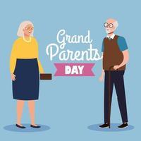 Alles Gute zum Großelterntag mit süßem älterem Paar vektor