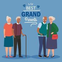Alles Gute zum Großelterntag mit süßen älteren Paaren vektor