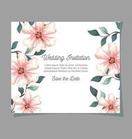 Grußkarte, Hochzeitseinladung mit Blumen, Zweigen und Blättern Dekoration vektor