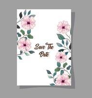 Grußkarte, Hochzeitseinladung mit rosa Blumen, Zweigen und Blättern Dekoration vektor