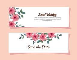 Satz Grußkarten, Hochzeitseinladung mit Blumen, Zweigen und Blättern Dekoration vektor