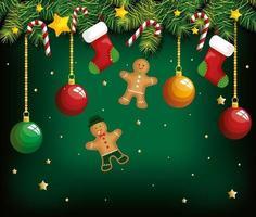 Weihnachtsplakat mit hängenden Ingwerplätzchen und Dekoration vektor