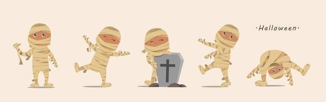 Happy Halloween Day Mama Kind Cartoon Charaktere Design Vektor