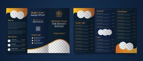 trebladig broschyr för matmenymall vektor
