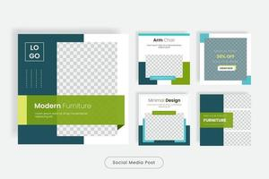 Minimales Design Möbel Social Media Post Template Banner Set vektor