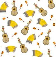 nahtloses Vektormuster mit Akkordeongitarre und Maraca auf weißem Hintergrund. perfekt für Tapetenhintergrund Geschenkpapier oder Stoff vektor