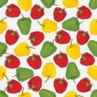 Vektor-nahtloses Muster mit rot-gelbem und grünem Paprikasatz von ganzen Paprikas vektor