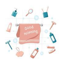 Vektor rosa Badezimmerartikel-Set