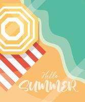 Hallo Sommer Banner Regenschirm Handtuch Strand Meer Saison Urlaub Reisekonzept vektor