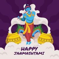 majestätischer Vishna spielt Flöte und feiert Janmashtami vektor