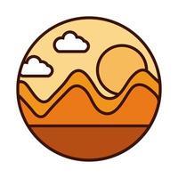 Landschaft Natur Sonnenuntergang Berge Szene Linie und Füllsymbol vektor