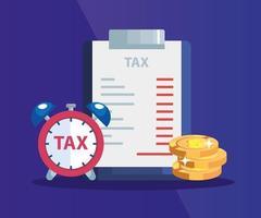 Dokument der bezahlten Steuer mit Haufen Münzen und Wecker vektor