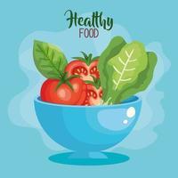 Veganes Essen Poster mit Schüssel und Gemüse vektor