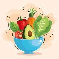Schüssel mit frischem und gesundem Gemüse vektor