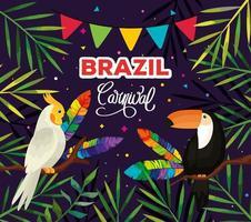 Plakat des brasilianischen Karnevals mit Vögeln und tropischen Blättern vektor