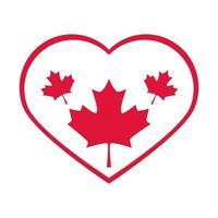 Kanada-Tages-Ahornblätter im Herzen lieben Landfeier flache Ikone vektor