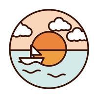 Landschaft Natur Ozean Sonnenuntergang Segelboot Linie und Füllsymbol vektor