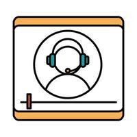 Online-Bildungscharakter mit Headset-Videoseminar-Lehrwebsite und mobiler Schulungskurslinie und Füllsymbol vektor