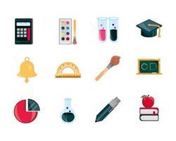 Bildung Versorgung Studie Schule Schreibwaren Icons Set isolierte Symbol vektor