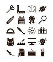Schulbildung lernen Versorgung Briefpapier Icons Set Silhouette Stilikone vektor