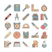 Schulbildung lernen Versorgungsmaterial Briefpapier Icons Set Linie und Füllstil-Symbol vektor