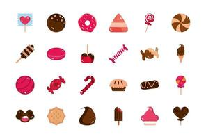 süße Süßwaren Snacks Süßigkeiten Symbole Sammlung vektor