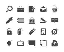 Bürobedarf Ausrüstung Schreibwaren Icon Set Silhouette auf weißem Hintergrund vektor