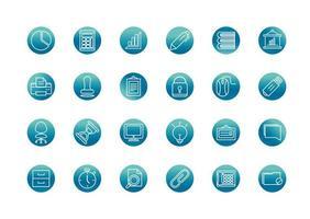 Bürobedarf Ausrüstung Schreibwaren Icon Set Block Farbverlauf Symbol vektor