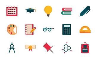 Satz von Angebot Schreibwaren Bildung Schule Icon-Design vektor