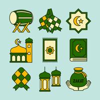 flache Ketupat-Icon-Sammlung vektor