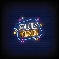 Quizzeit Neonschilder Stil Textvektor vektor