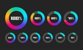 Satz von Ladebalkenvektorillustration Fortschrittsvisualisierung Ladestatussammlung Webdesignelemente Laden Infografik-Vektorvorlage vektor
