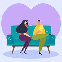 Enastående Chill Couple På Soffa Vektorer