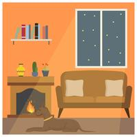 Flacher Hund sitzen vor Fireside-Vektor-Illustration