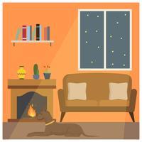 Platt hund sitta ner framför Fireside Vector Illustration