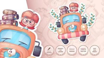 Cartoon-Figur Mädchen Autofahren Aufkleber vektor