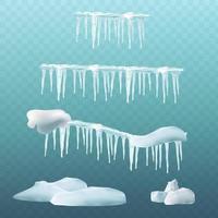 Schneeelemente Schneeball- und Schneeverwehungseiszapfen und Schneekappengrenzen isolierte Winterset-Darstellung der Schneeballeffekt-Frostschneekappen-Vektorillustration vektor