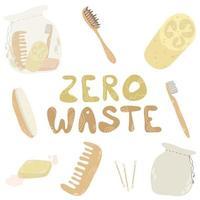 Zero-Waste-Hygieneelemente setzen umweltfreundliches Design mit recycelbaren und wiederverwendbaren Produkten Zero-Waste-Lifestyle-Symbol für Hygiene, kein Plastik-Cartoon-Doodle-Stil vektor
