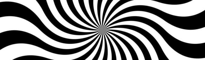 Schwarz-Weiß-Spirale-Header wirbelndes radiales Muster abstrakte Vektor-Illustration-Banner vektor