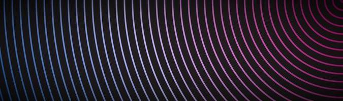 abstrakter moderner Materialkopf mit kreisförmigen Linien mit blau-rosa Farbverlauf Neon-Metallic-Technologie Banner Vektor abstrakter Widescreen-Hintergrund