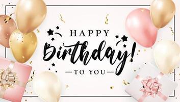 Grattis på födelsedagen Grattis banner design med konfetti ballonger och glänsande glitter band för fest semester bakgrund vektor