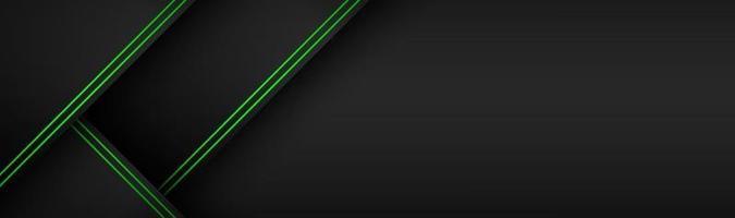 Schwarzes und grünes Material perforiertes Vektor-Header-Design-Banner mit polygonalem Raster und Leerzeichen für Ihr Logo vektor