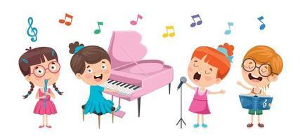 lustige kleine kinder, die musik machen vektor