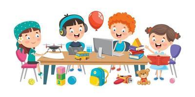 kleine Kinder, die im Klassenzimmer lernen vektor