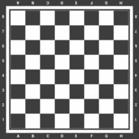 modernes schwarzes Schachbrett mit Buchstaben und Zahlenhintergrunddesign-Vektorillustration vektor