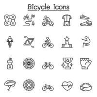 Fahrradsymbol im dünnen Linienstil gesetzt vektor