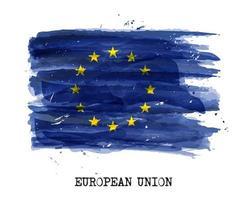 aquarellmalerei flagge der europäischen union eu vektor