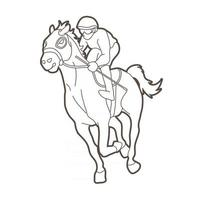 Outline Jockey Sport Rennpferd vektor